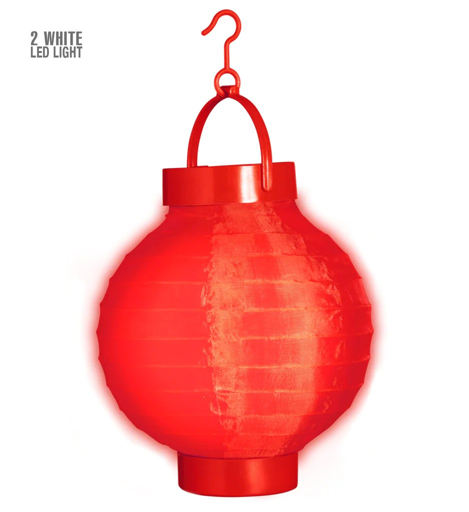 Lampionnen Met Led Red Cloth Light Up Lampion W Led Lights 15 Cm