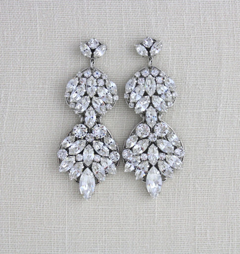 Where To Get Bridal Jewelry Large Statement Earrings For Bride Swarovski Crystal Wedding Jewelry Chandelier Earrings