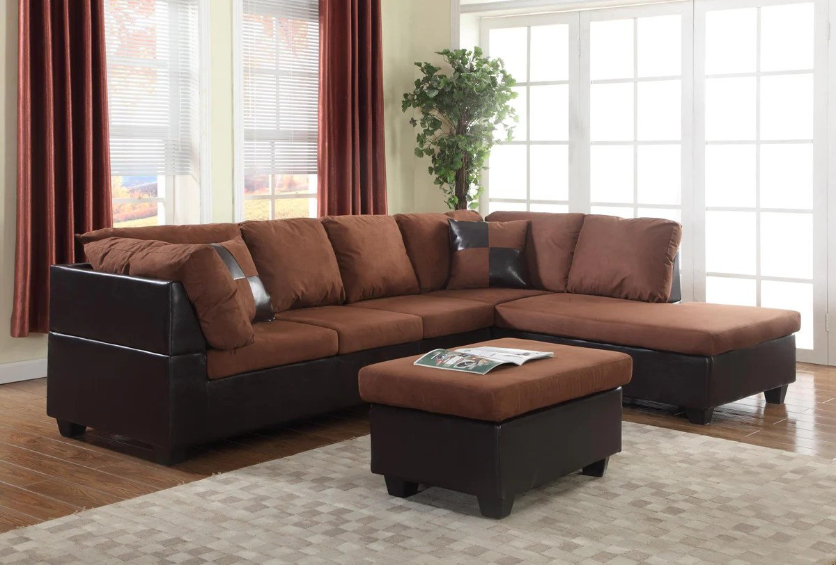 Microfiber Sectional Sofa Chocolate Microfiber Sectional Sofa Ottoman