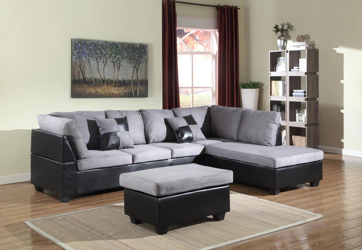 Microfiber Sectional Sofa Grey Microfiber Sectional Sofa Ottoman