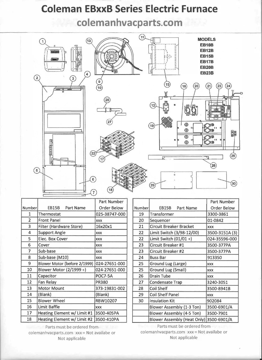 coleman eb15b electric furnace diagram