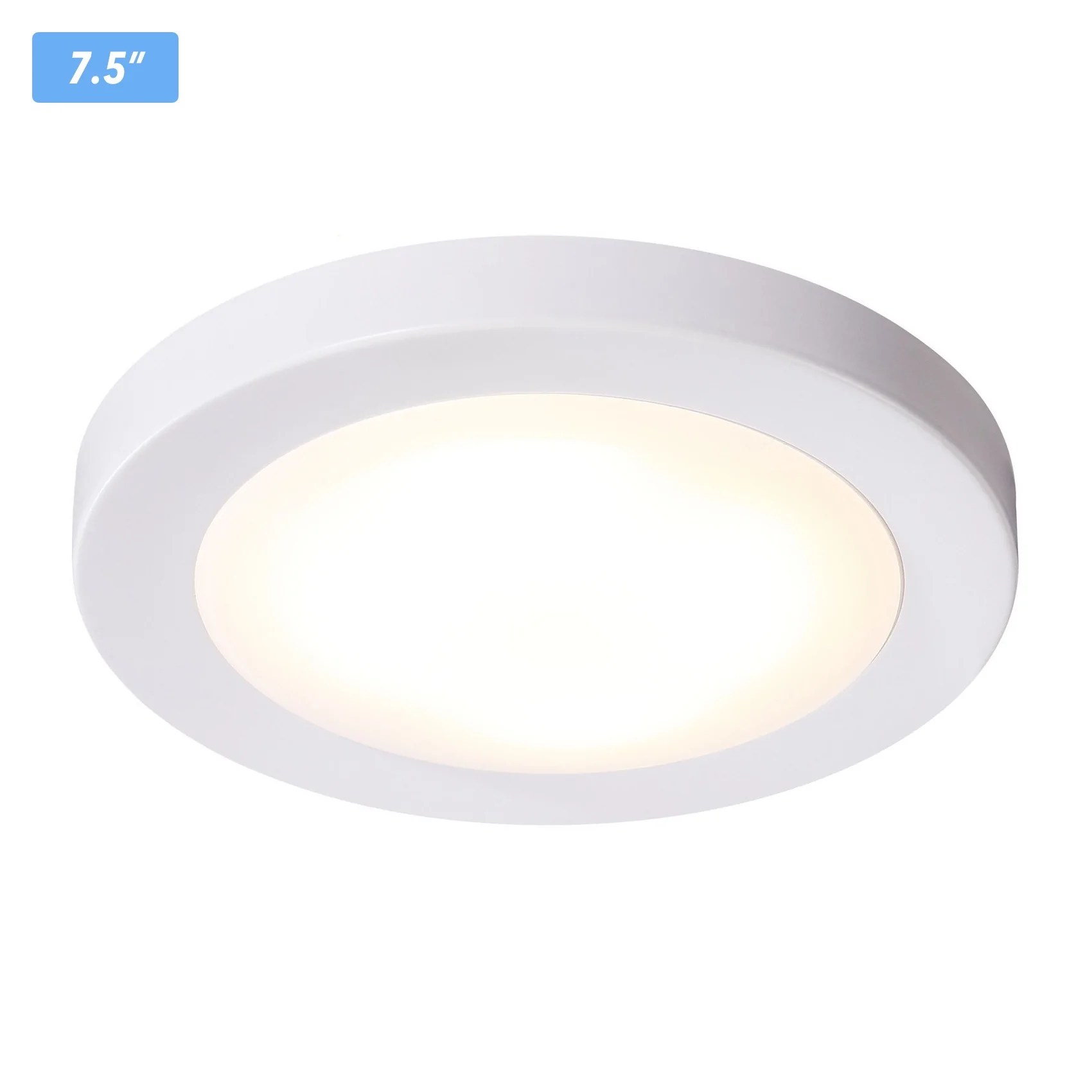 Led White Flush Mount Ceiling Light 7 5 Inch Dimmable Led White Finish Wet Location 120v 12w 840lm