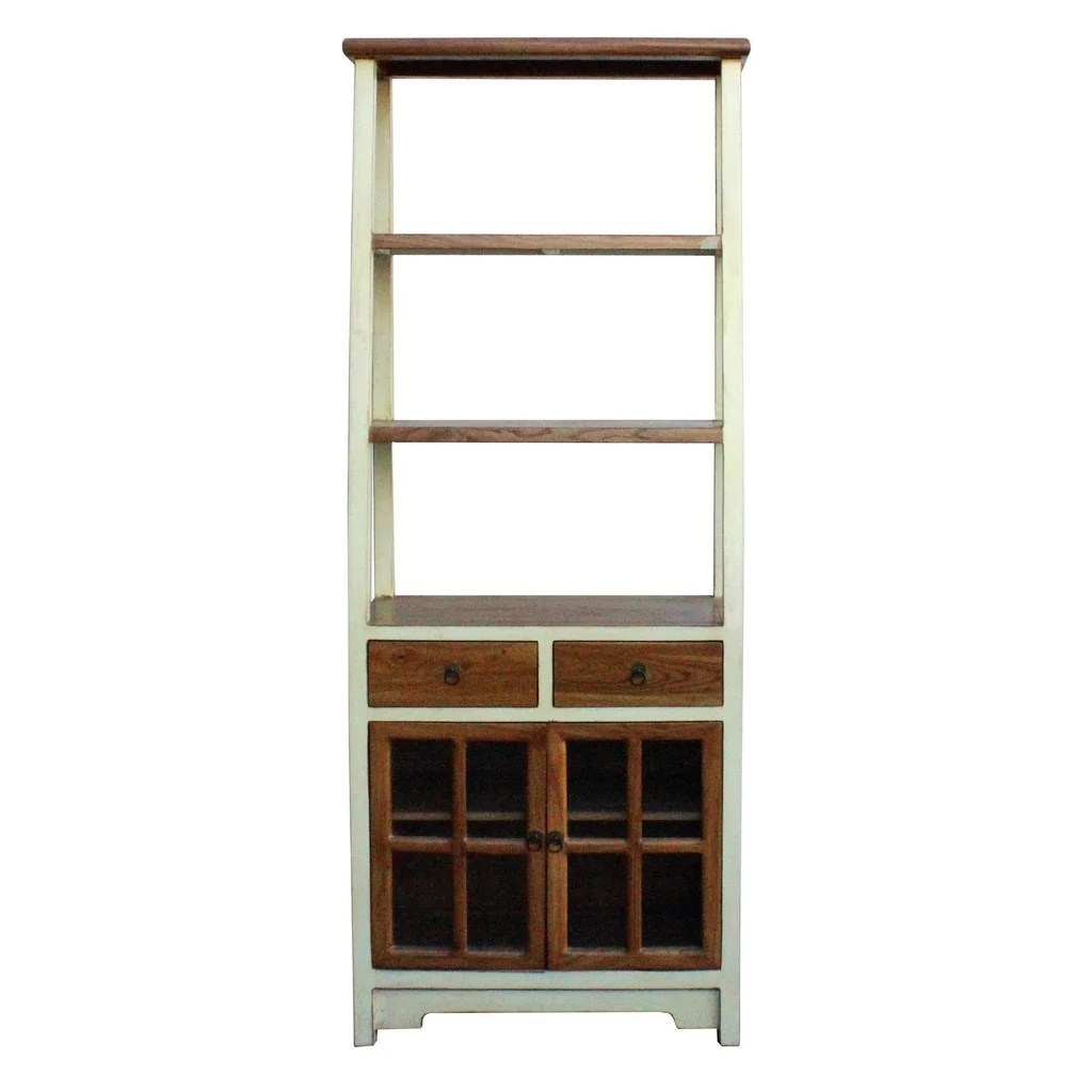 Bookcase Cabinet Oriental Cream White Brown Glass Door China Bookcase Cabinet Cs4173s