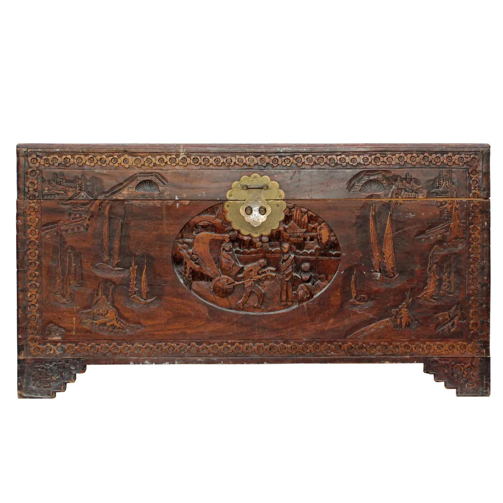 Motif Relief Oriental Asia Brown Relief Scenery Motif Carving Trunk Table Cs4349s