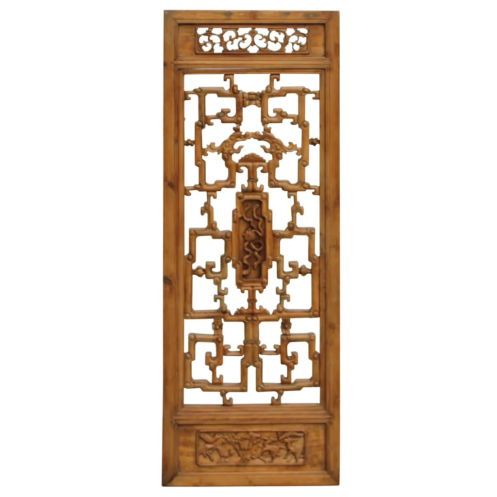 Motif Relief Chinese Vintage Light Brown Relief Motif Wood Wall Hanging Art Ws244s