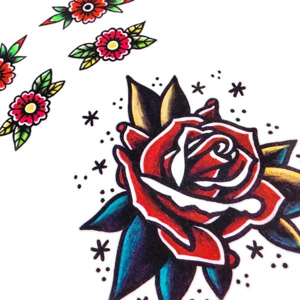 Black And White Geometric Wallpaper Color Old School Flower Rose Tattoo Sticker Hk