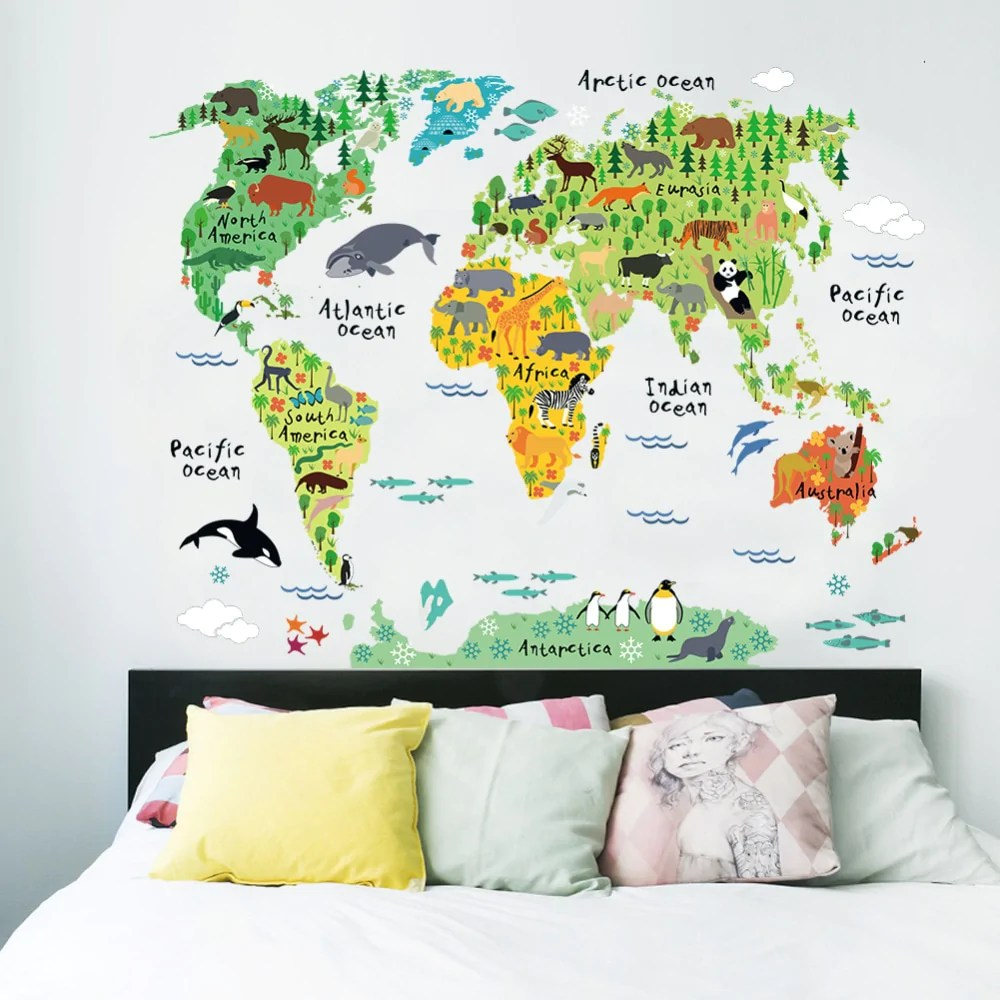 World Map Decorations Colorful Animal World Map Wall Stickers Living Room Home