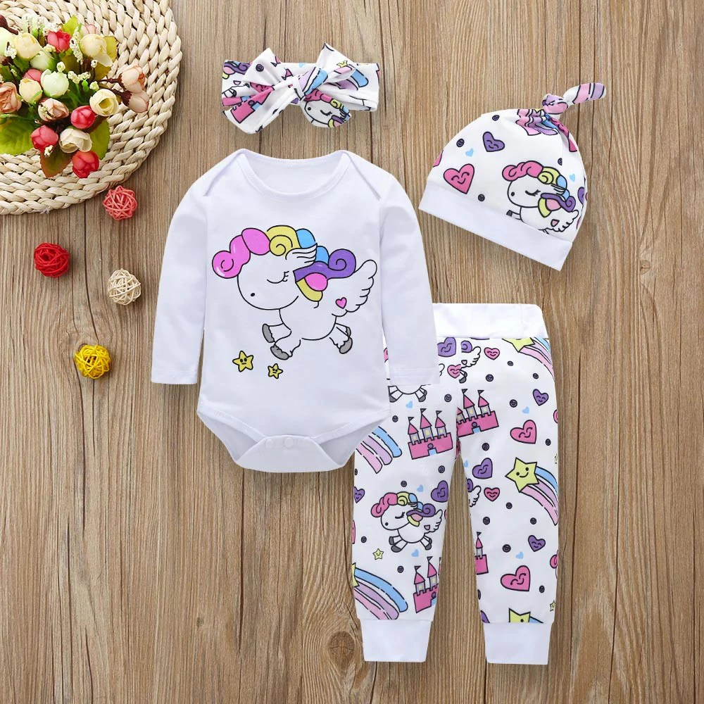 Newborn Infant Outfits Baby Girl Clothes Sets Newborn Infant Fashion Unicorn Pegasus Star Heart Castle 4 Pieces Sets Tops Bodysuit Pants Hat Headband