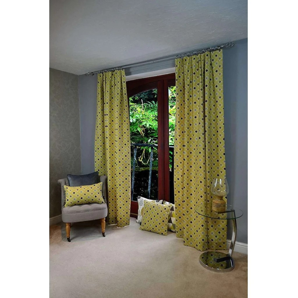 Scandinavian Ready Made Curtains Laila Cotton Ochre Yellow Curtains