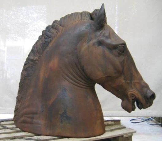 Childrens Chairs Equestrian Horse Head On Base, Cast Iron Finish