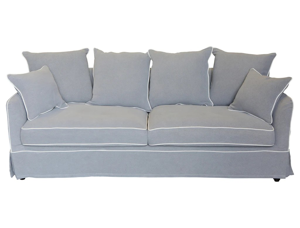 Grey Sofa Grey 3 Seat Sofa With White Piping