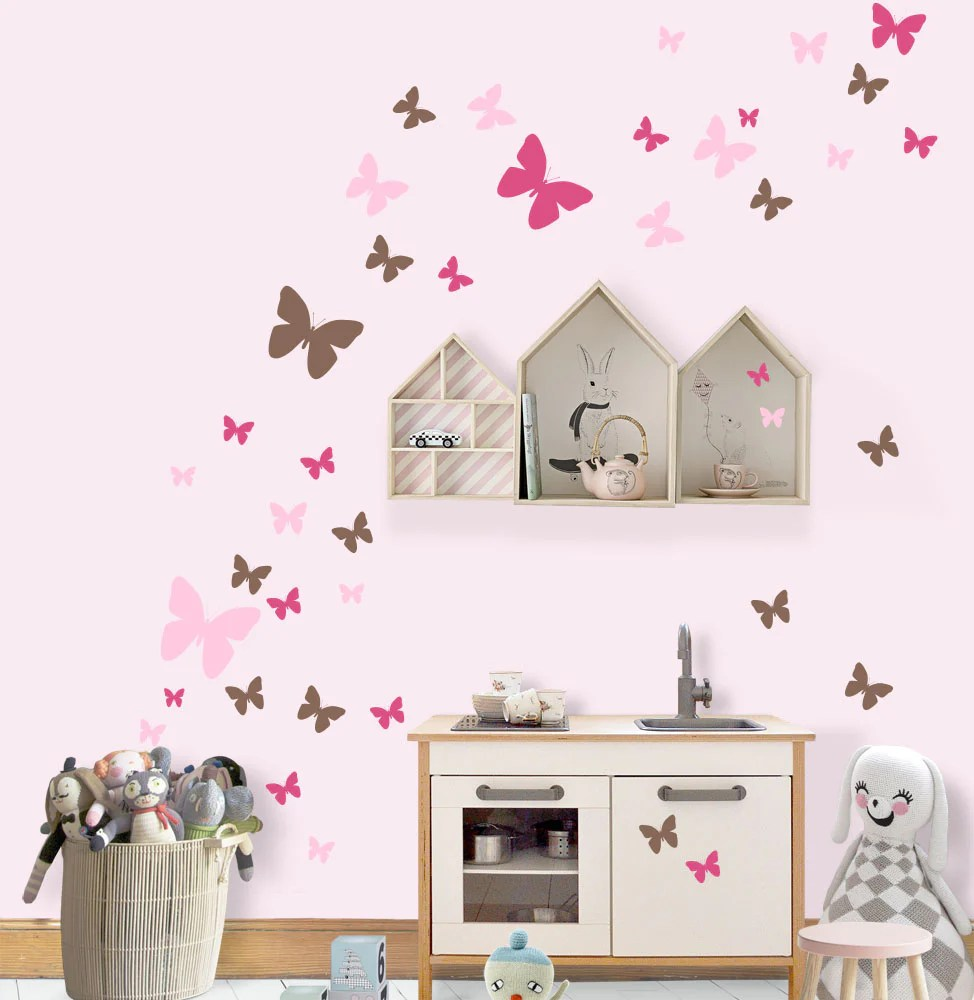 Wall Decoration Murale Butterfly Wall Decals For Girls Hot Pink Pink Brown Vinyl Wall Decor Stickers