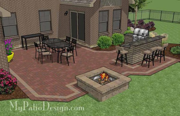 505 Sq Ft Large Courtyard Brick Patio Design With