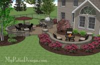 Large Paver Patio Design with Grill Station & Seat Walls ...