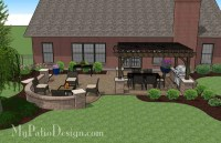 Traditional Patio Design with Seating Wall and Pergola ...