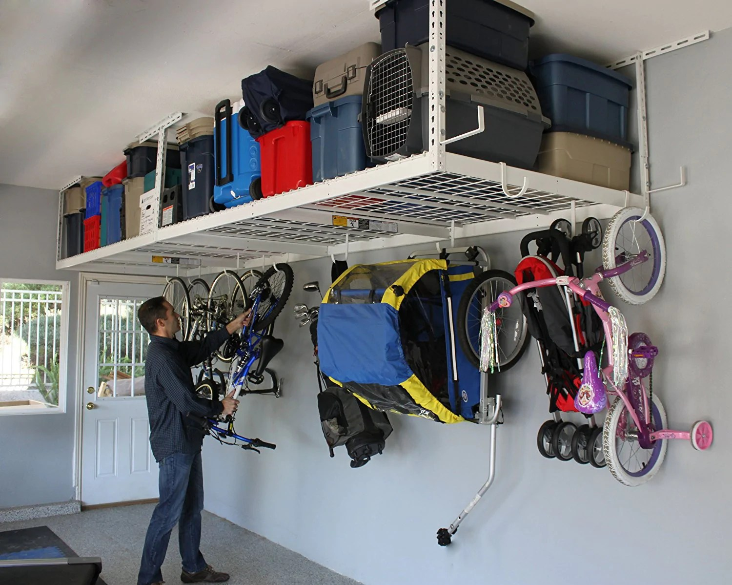Tidy Garage Bike Rack Installation Saferacks Overhead Garage Storage Bike Rack Heavy Duty 18