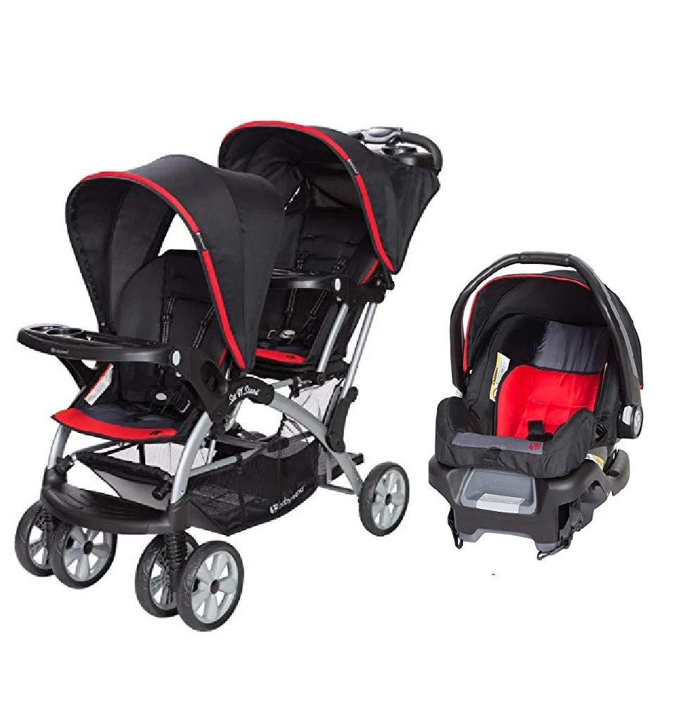 Twin Stroller And Carseat Red Green Or Pink Double Sit N Stand Twin Stroller Travel System Bundle With Car Seat Combo