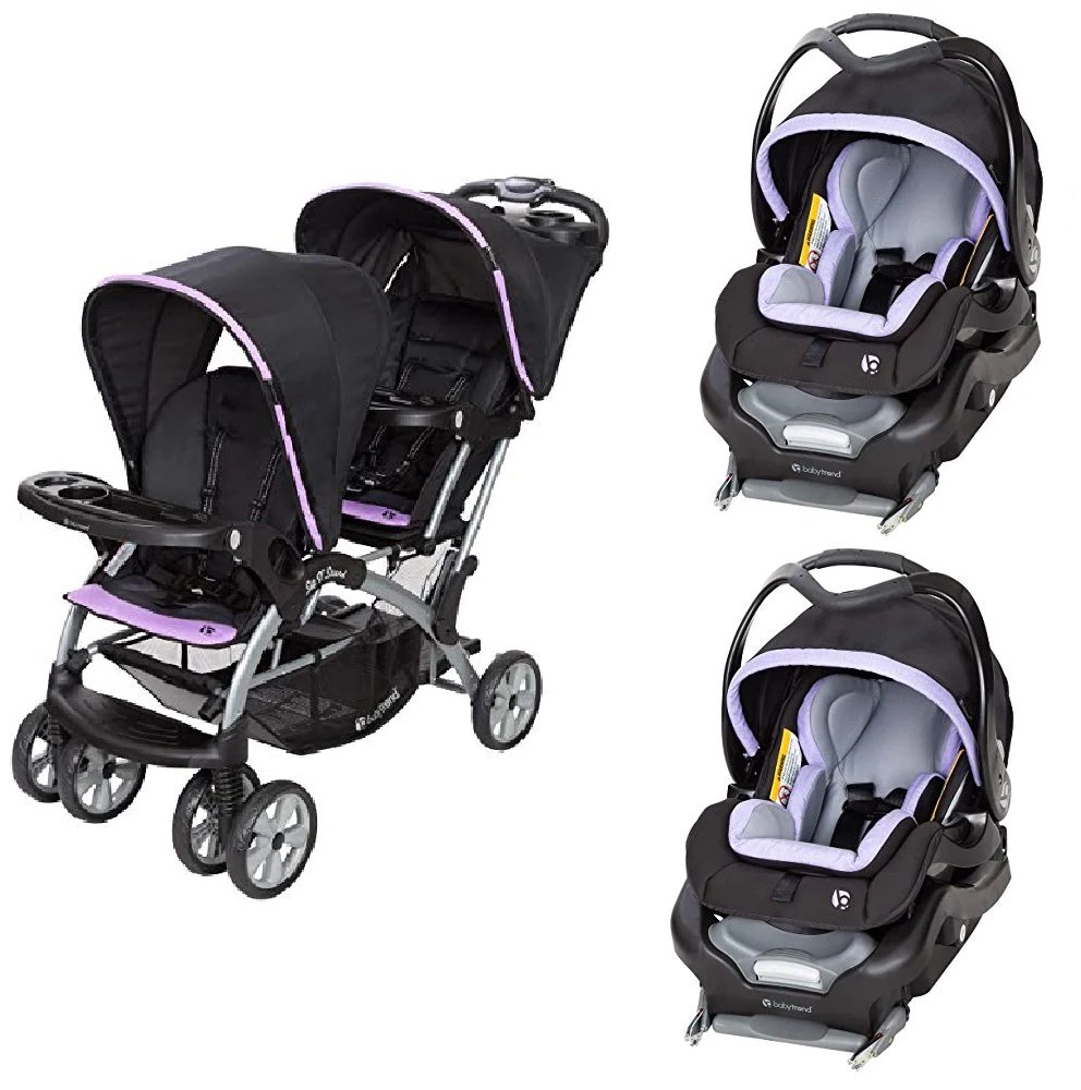 Twin Stroller And Carseat Purple Double Sit N Stand Twin Stroller Travel System Bundle With 2 Car Seats