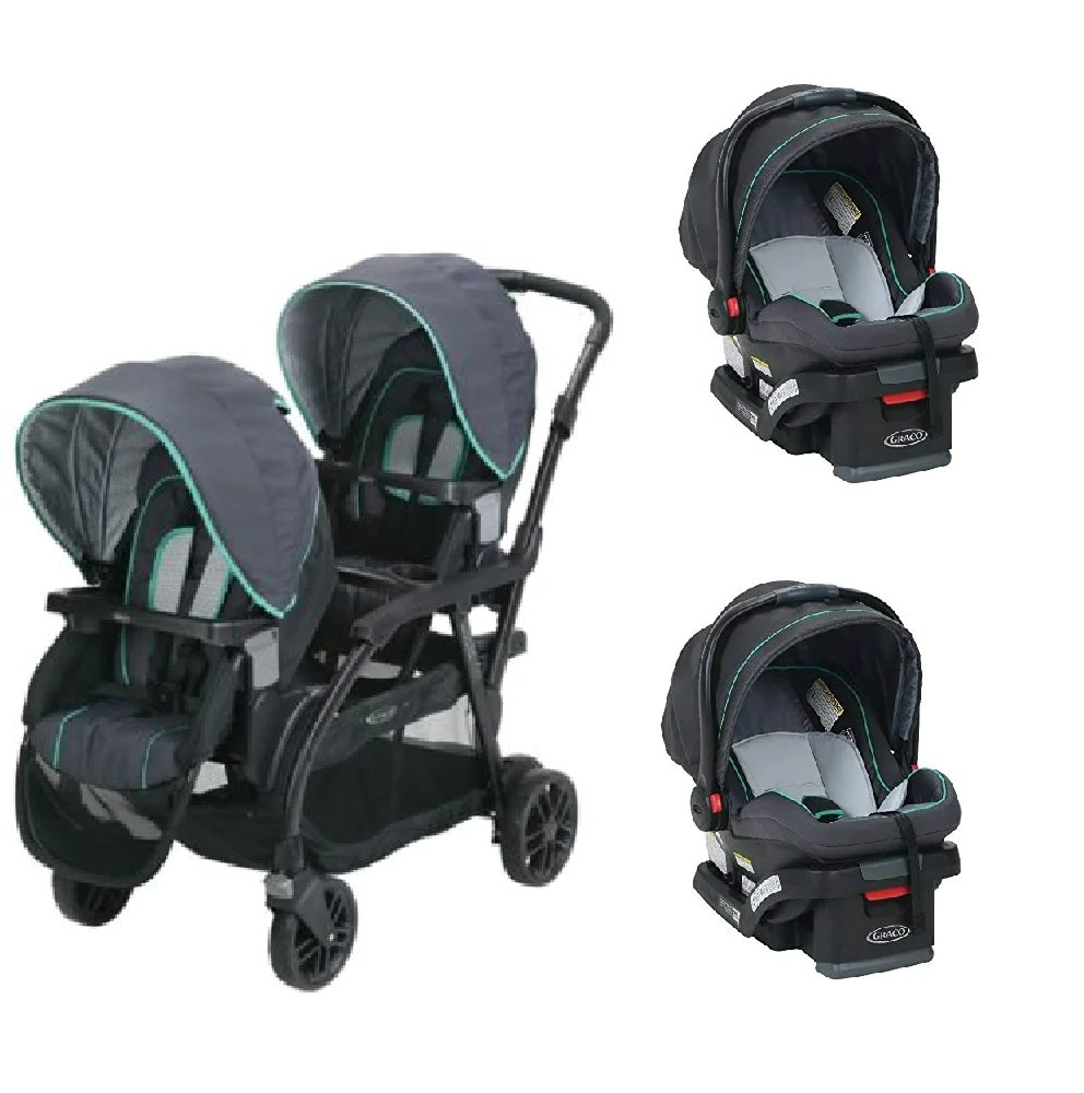 Twin Stroller And Carseat Graco Blue Baby Infant Double Twin Sit N Stand Stroller Travel System With 2 Car Seats