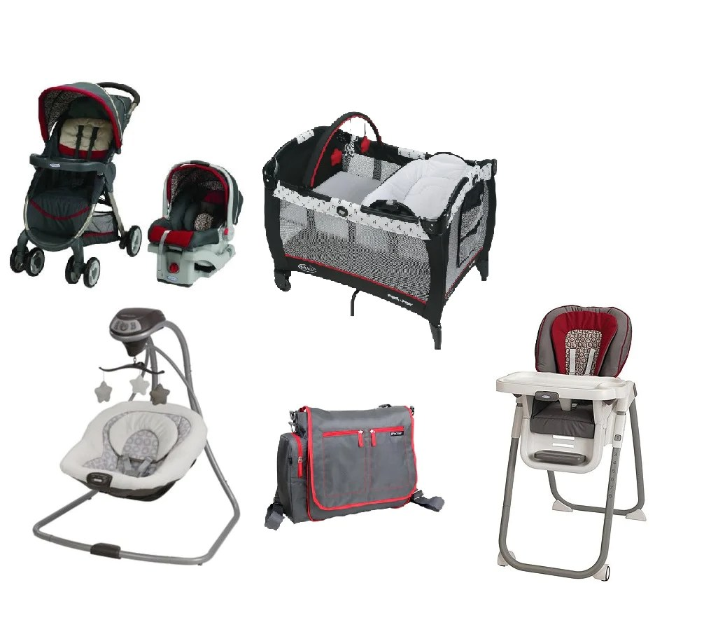 Baby Cradle Graco Graco Red Complete Baby Gear Bundle Stroller Travel System Swing High Chair