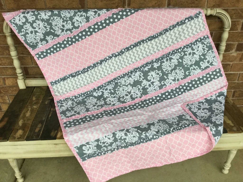 Baby Quilts.com Gray And White Scroll And Pink Baby Quilt