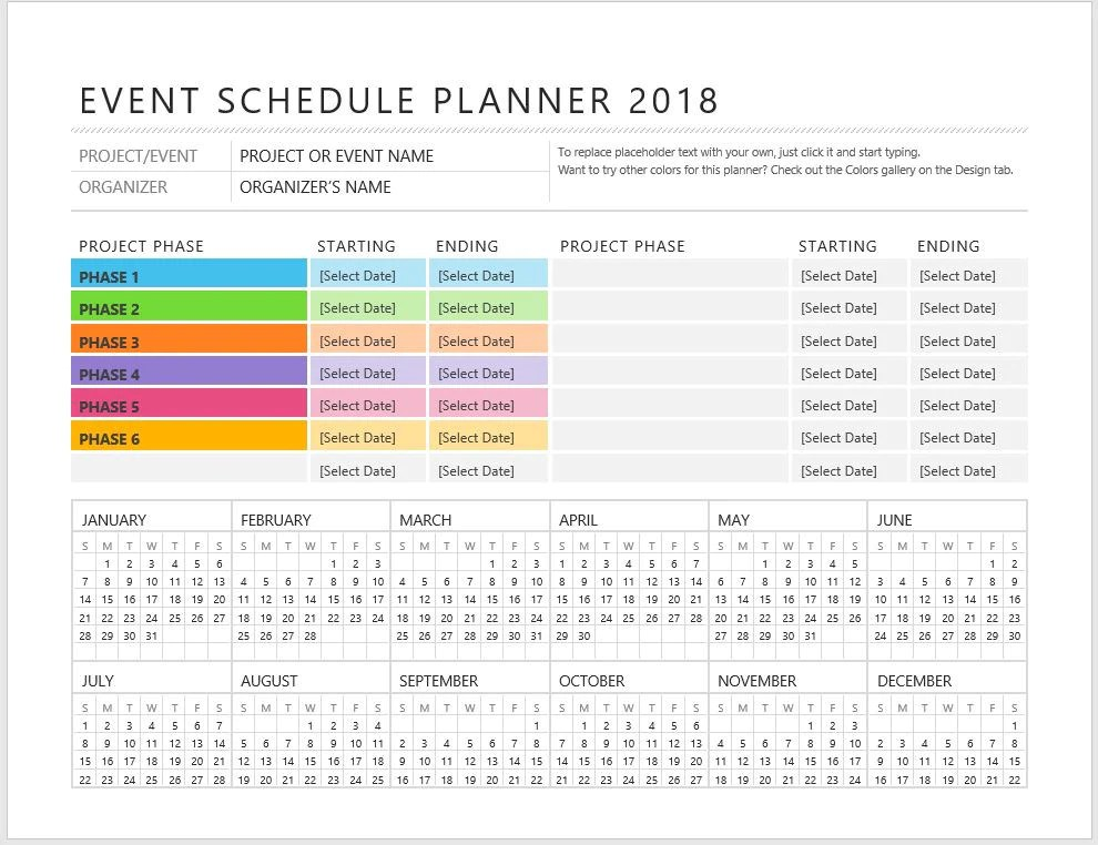 microsoft project planner template