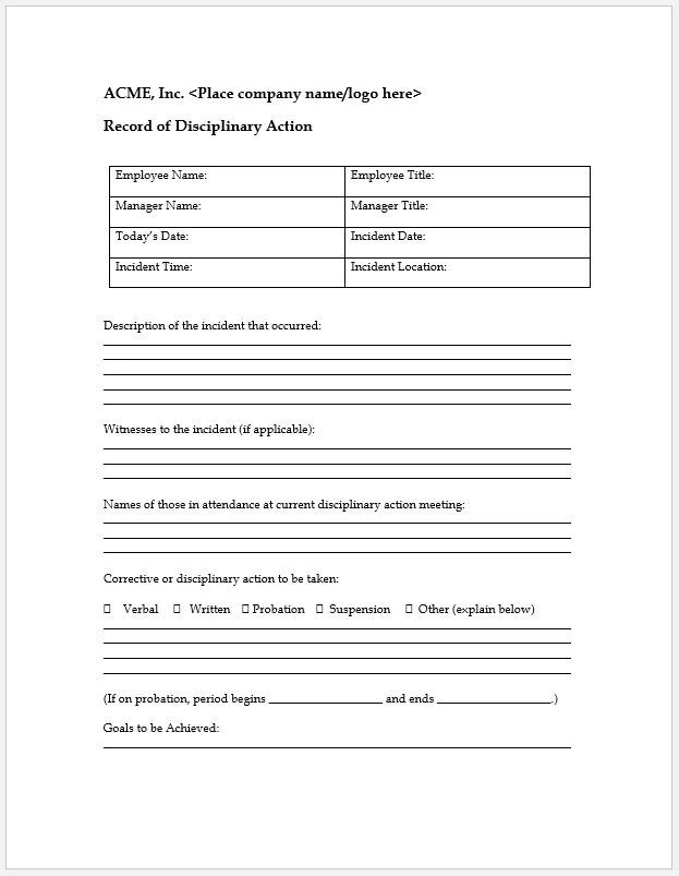 Disciplinary Action Form Template Choice Image - Template Design Ideas