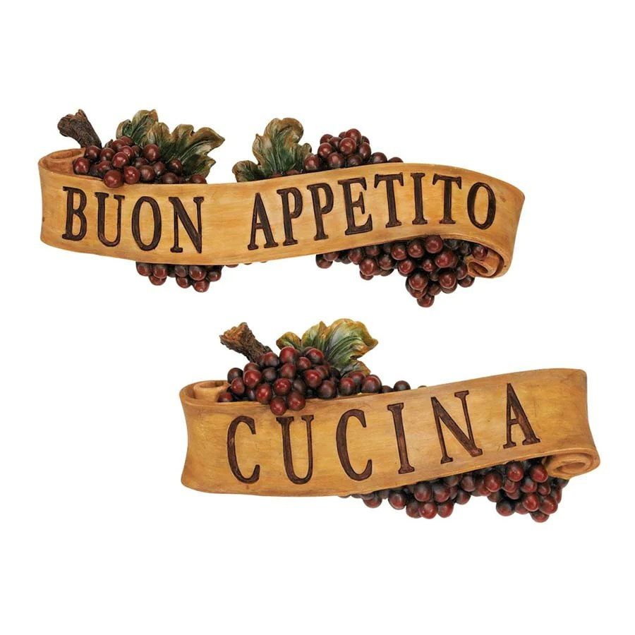 Cucina Kitchen Sign Italian Buon Appetito And Cucina Kitchen Grapes Sculptural Wall Plaque Decor
