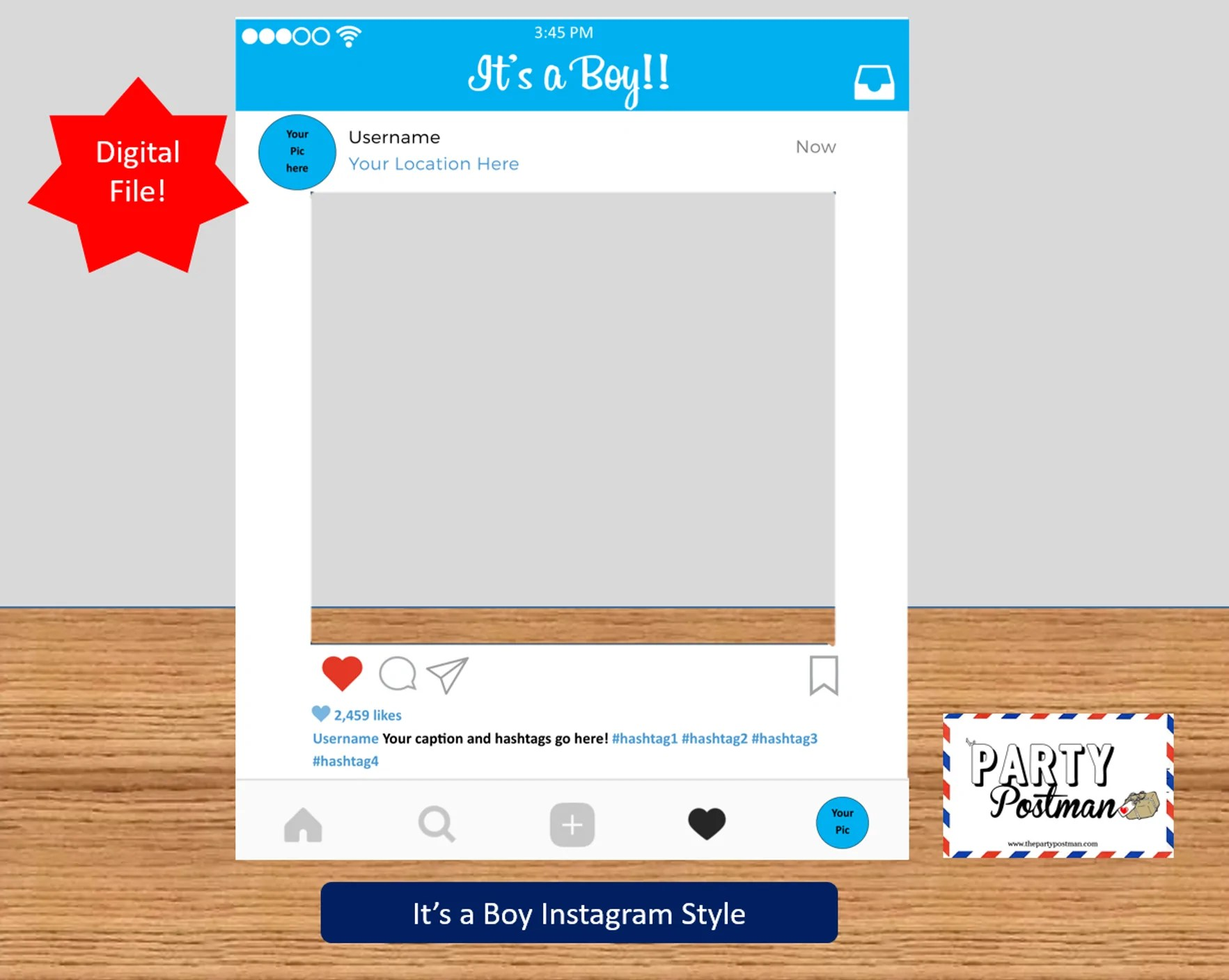 Baby Boy Instagram Frame Photo Booth Prop Instagram Prop