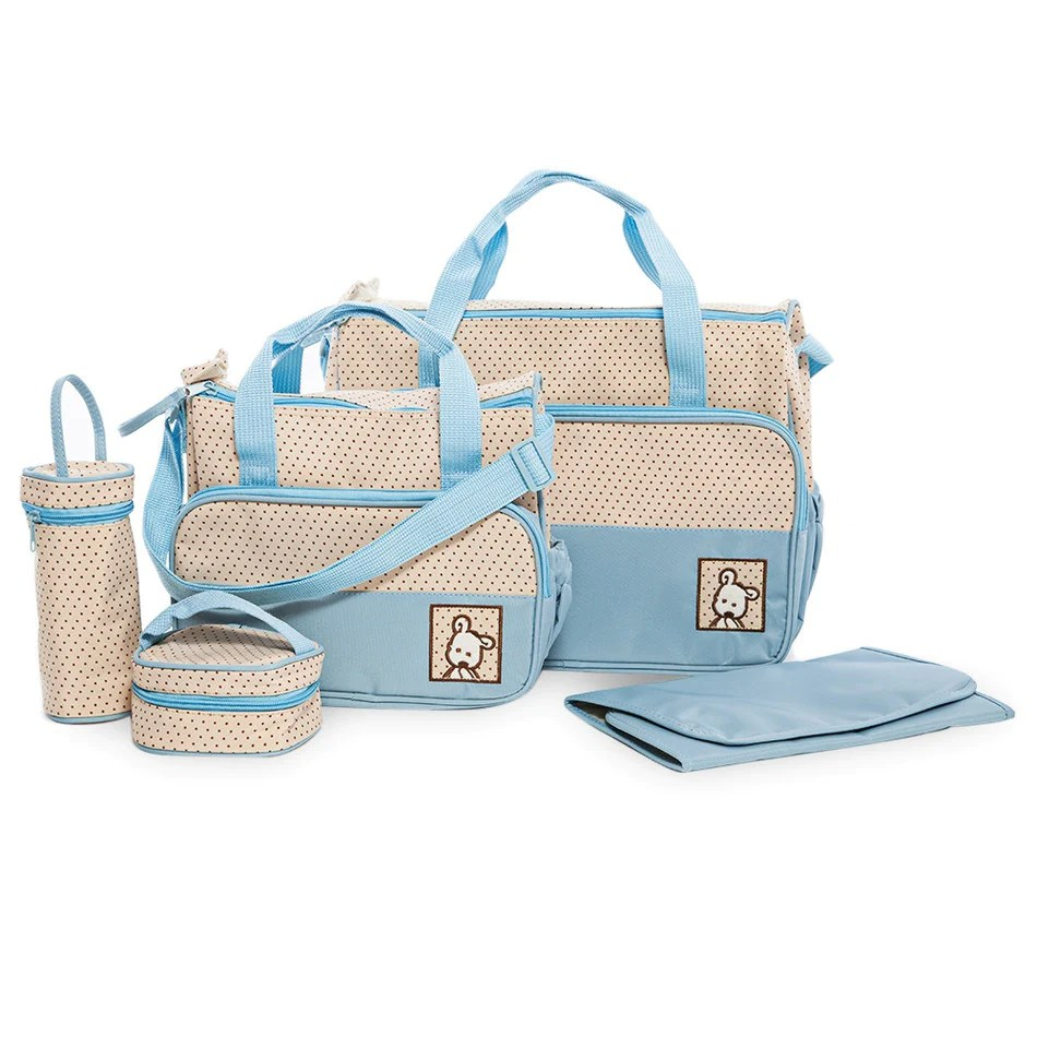 Baby Bags Online 5pcs Baby Changing Diaper Nappy Bag Blue