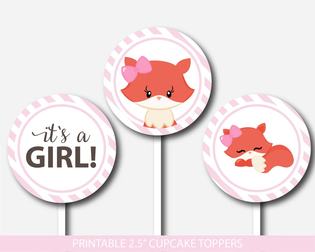 Pink Fox Cupcake Toppers Pink Woodland Cupcake Toppers