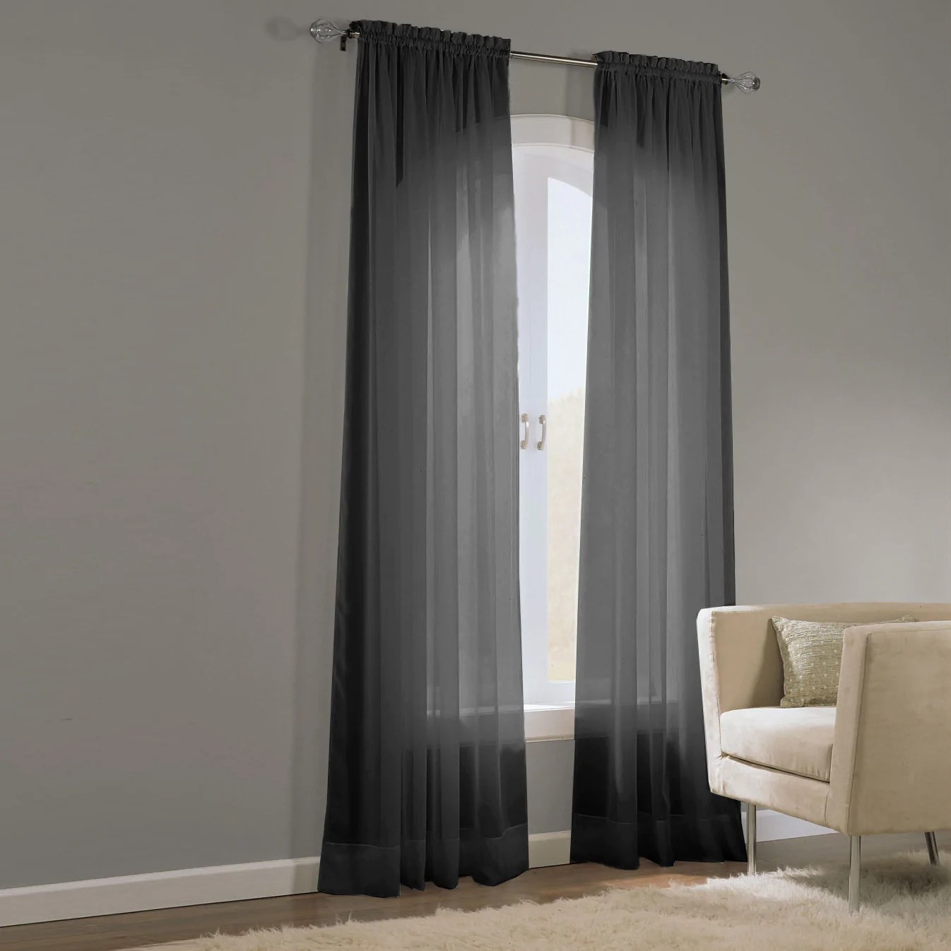 Black Voile Curtains Basic Elegance Voile Curtains Forever Linens