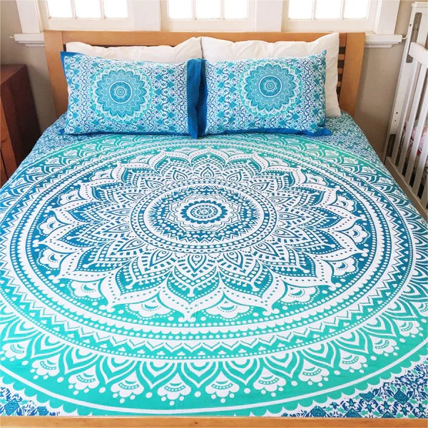 Bettwäsche Mandala Bohemian Blue Life Flower Bedding 3 Pc Set Mandala Boho