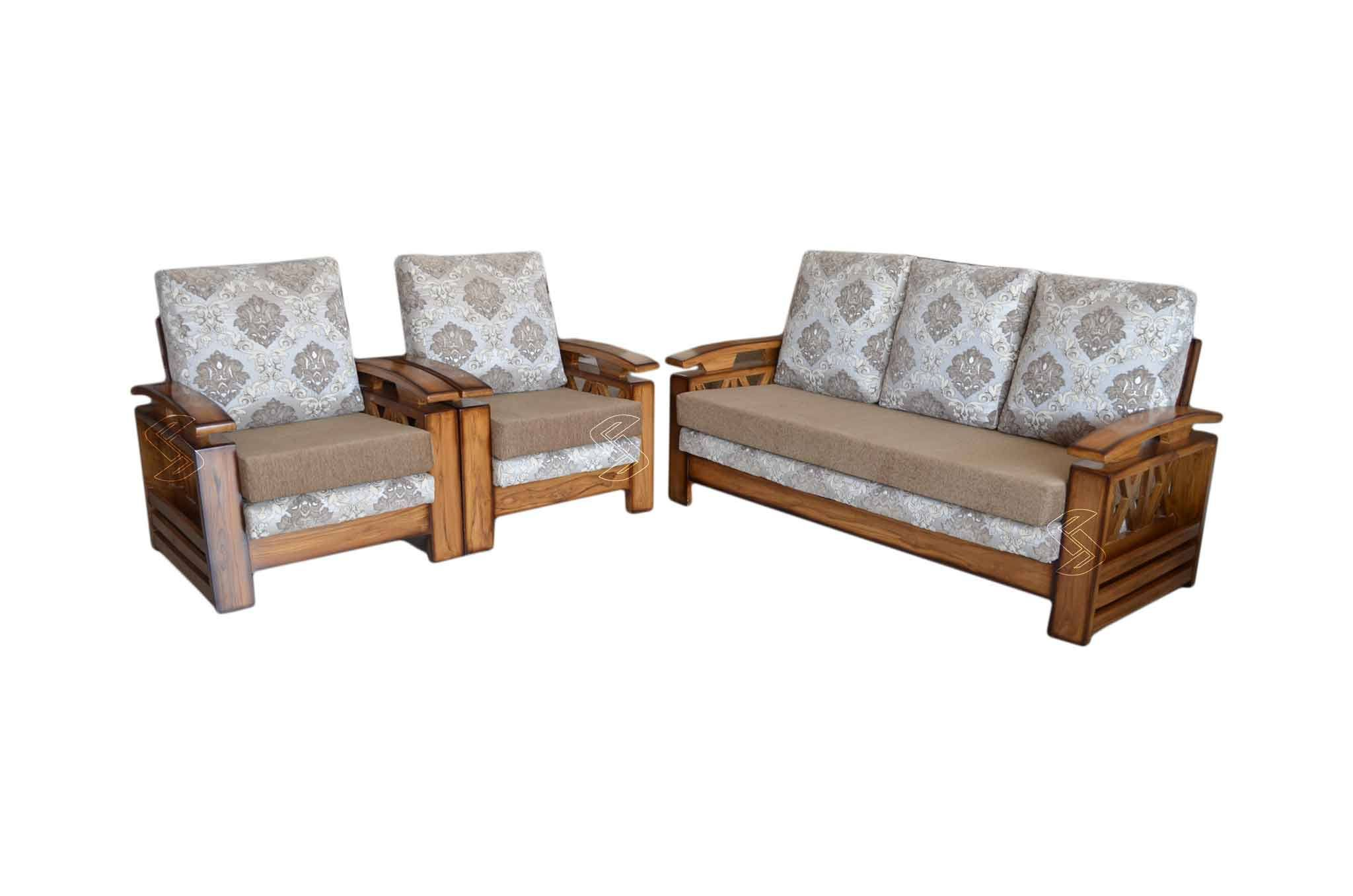 Sofa Set Online Crisso Teakwood 3 1 1 Sofa Set Natural Finish