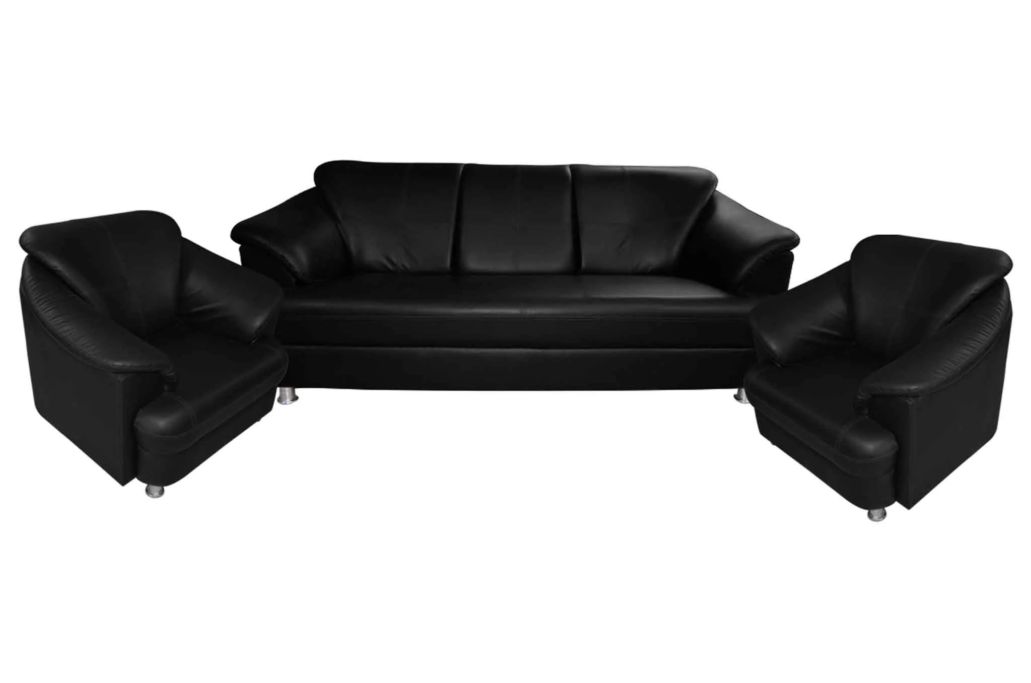 Sofa Set Online Fenton Leatherette 3 1 1 Sofa Set Black