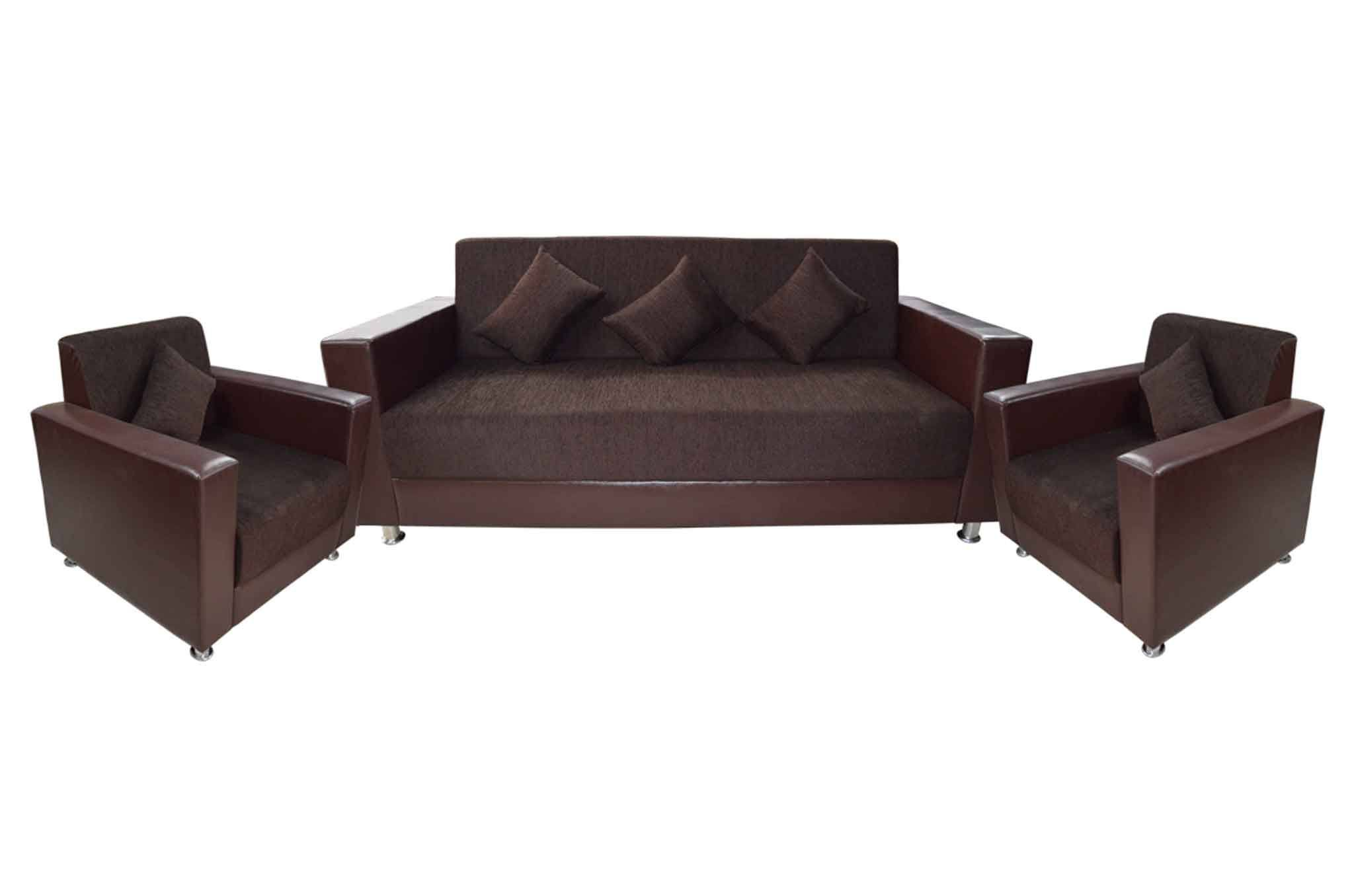 Sofa Set Online Klaton Fabric Leatherette 3 1 1 Sofa Set Brown