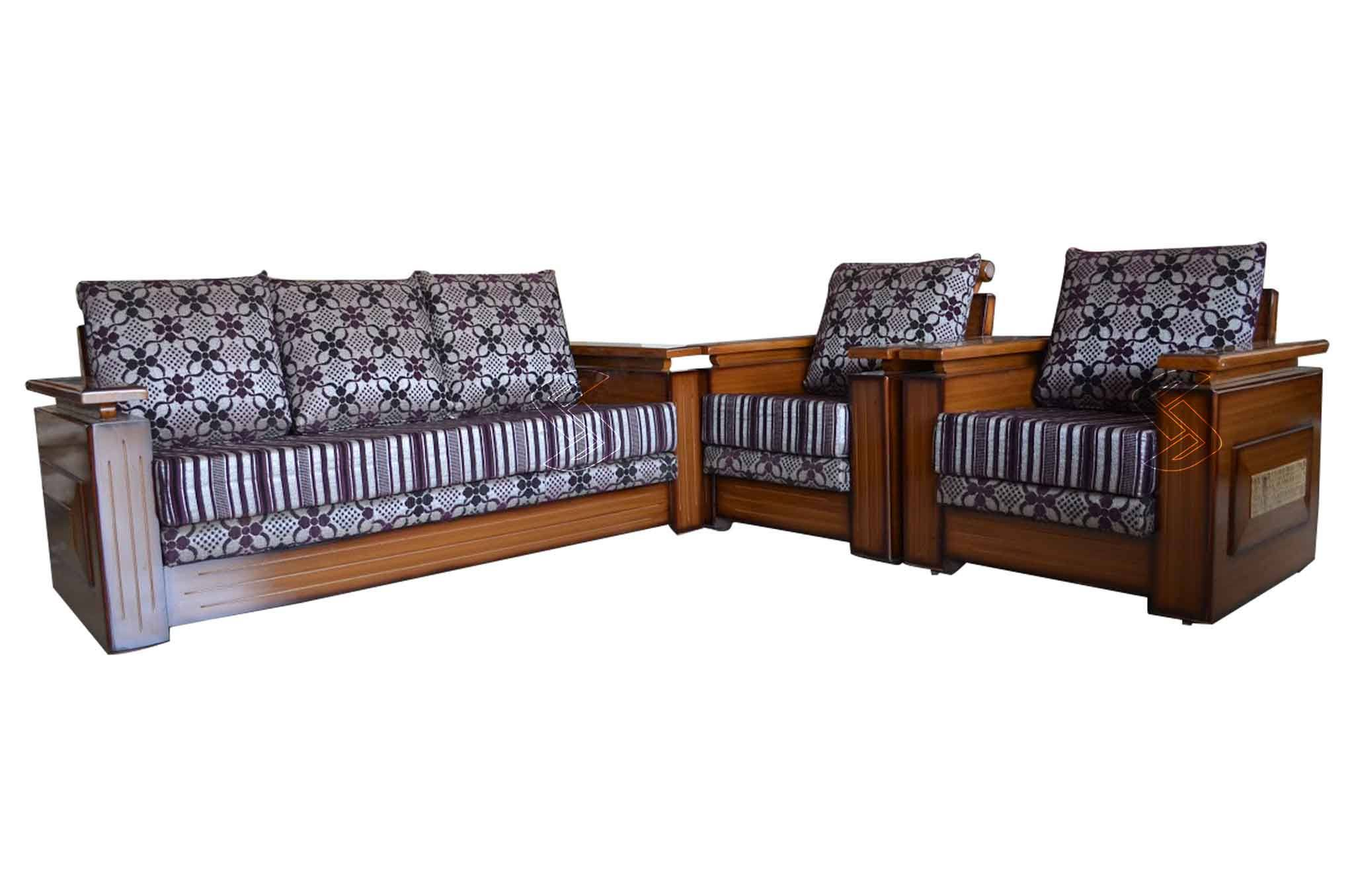 Sofa Set Online Malmo Teakwood 3 1 1 Sofa Set Natural Finish
