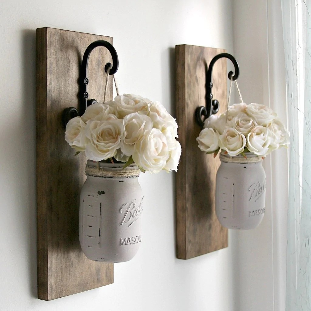 Pictures Wall Decor Ideas Set Of 2 Rustic Wall Sconces Hanging Mason Jars Decor