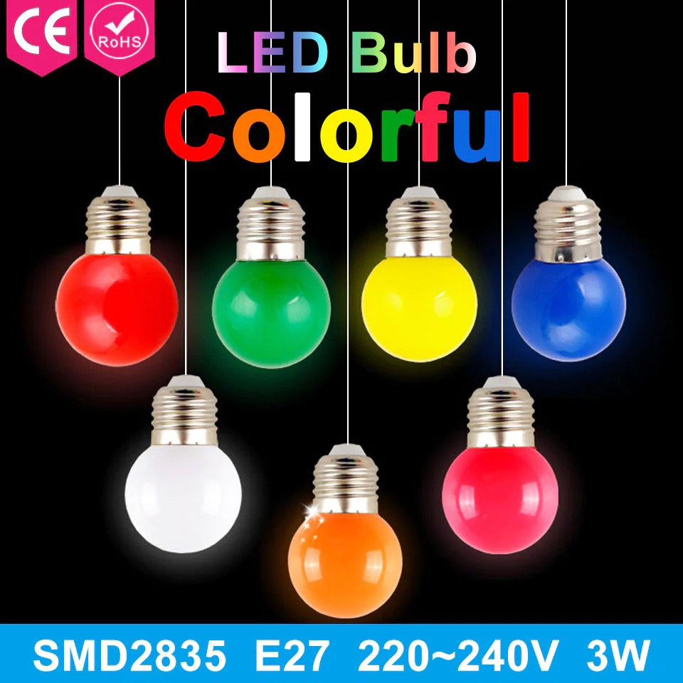 Ampoule Led 3w 1pcs 220v Home Lighting Colorful Led Bulb Ampoule E27 3w Energy Saving Light Red Orange Yellow Green Blue Milk Pink Lamp Smd2835