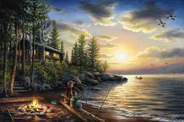Fall Cabin The Woods Wallpaper Exceptional Original Art Wildlife And Art