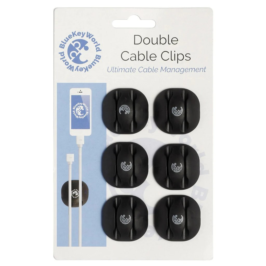 Wire Management Double Cable Clips Cable Organizer Cord Management Wire Management System 6 Pack Self Adhesive Durable Model Cm1007 From Blue Key World