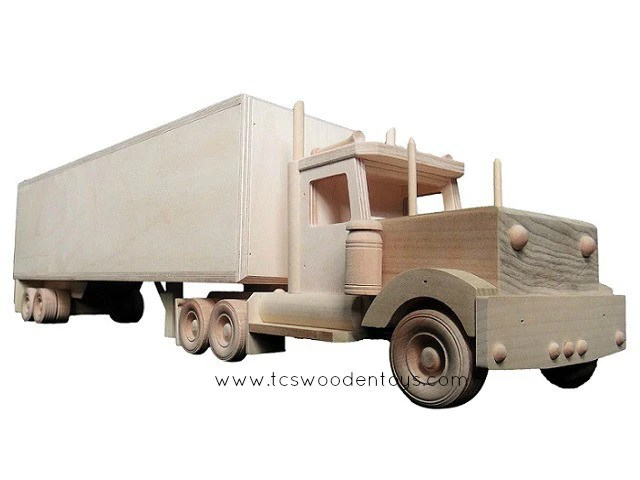 Amish Toy Box Trailer And Semi Truck Combo Tcs Wooden Toys