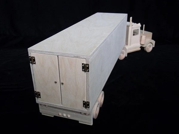 Amish Wooden Toy Box Van Trailer And Semi Truck Combo