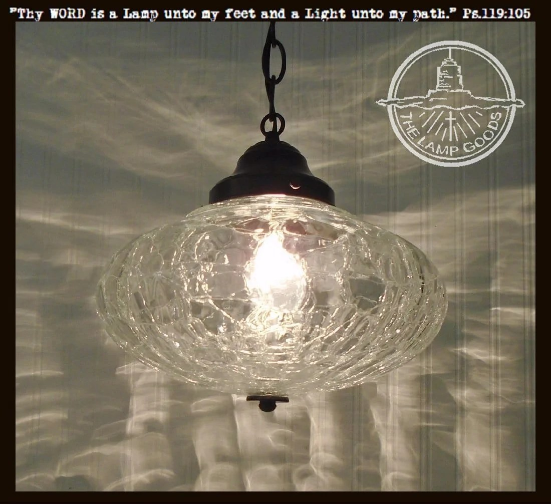 Glass Crackle Lamp Large Mid Century Crackle Glass Pendant Light
