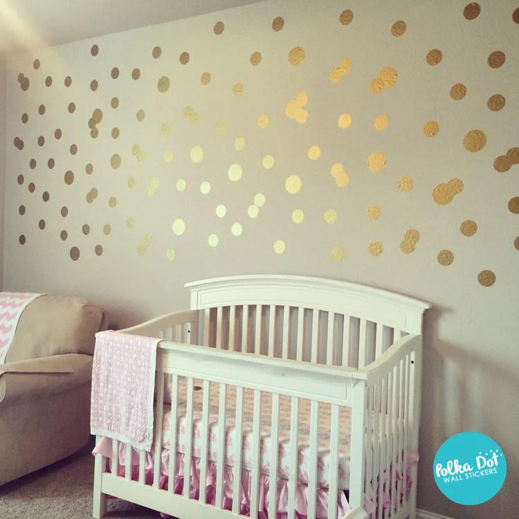 Wallpaper Border For Girl Nursery Metallic Gold Polka Dot Wall Decals Peel And Stick