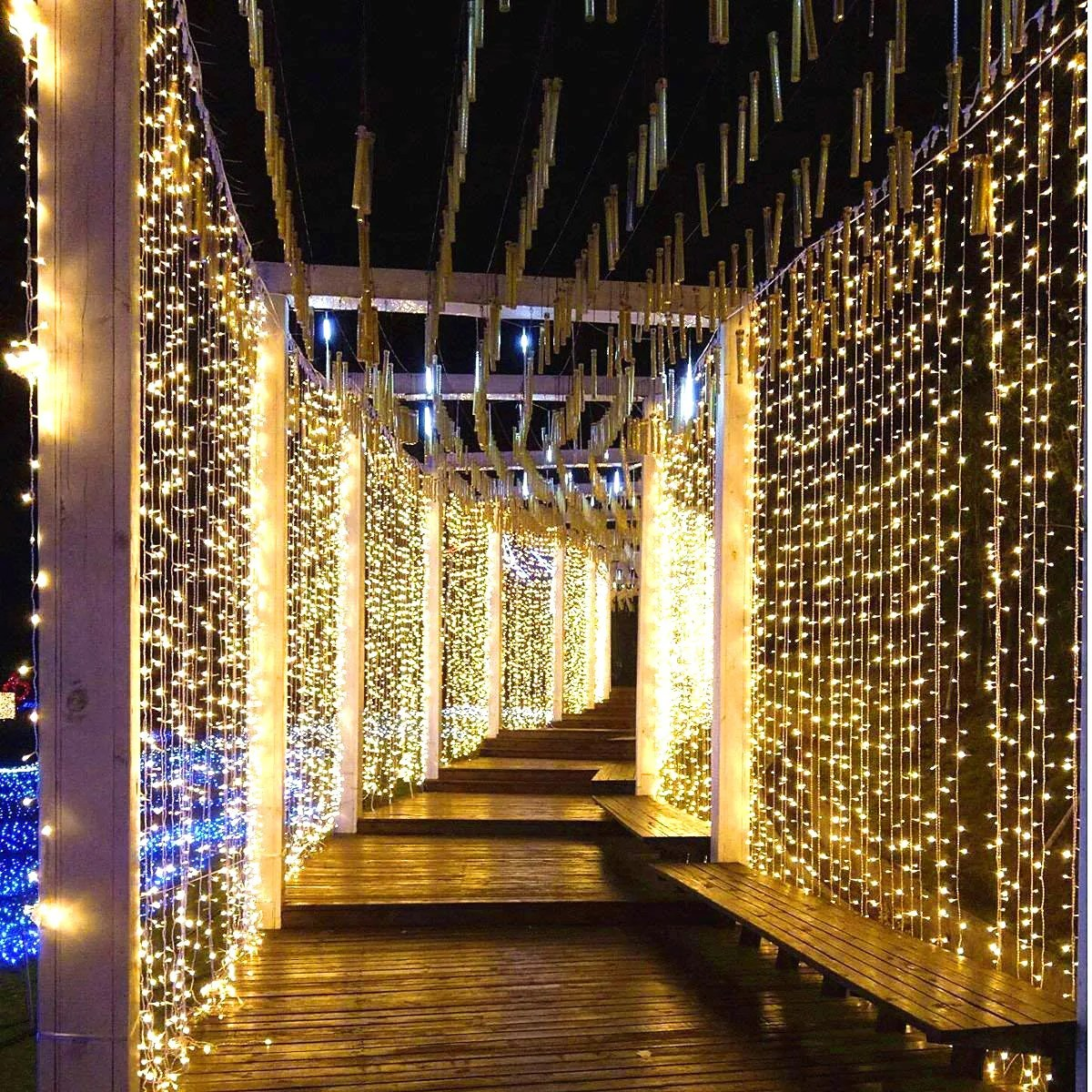How To Make Curtain Lights Led Light String Curtain 8 Flashing Modes Decoration For Wedding Party Home Patio Warm White
