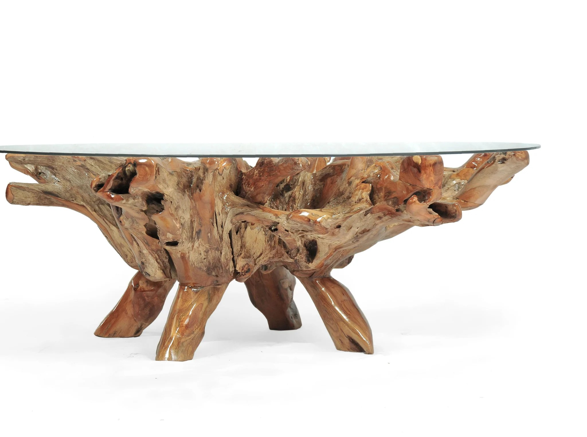 Round Glass Top Coffee Table Teak Wood Root Coffee Table Including 55 Inch Round Glass Top La