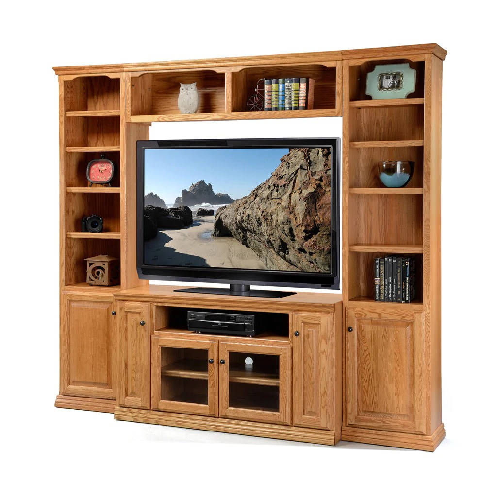 Wood Wall Behind Tv Od O T58wall Traditional Oak Wall System With 58