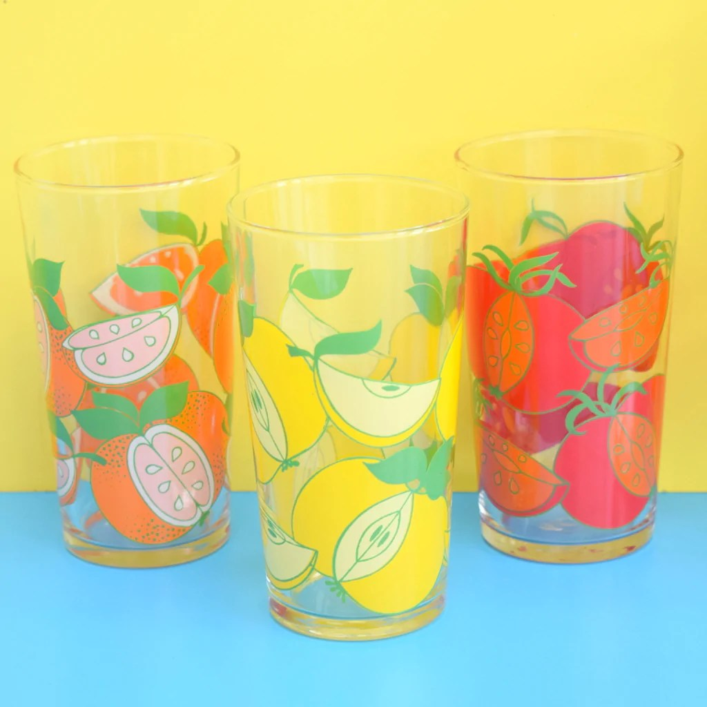 Drinking Glasses Designs Vintage 1960s Fruit Design Drinking Glasses And Jug Set