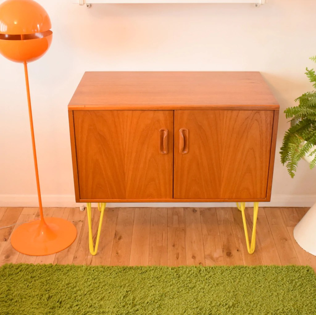 Vintage Sideboard Hairpin Legs Vintage 1960s Honey Teak G Plan Cabinet Hairpin Legs Sunny Yellow